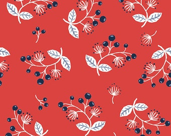 Monaluna Simple Life Sprig Poplin 100% Organic Quilting Cotton Modern Fabric Modern Quilt Berry Blossoms