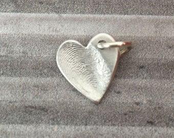 hand crafted medium silver satin finish finger print charm