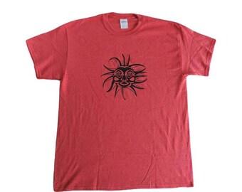 Tribal Sun T-shirt-Heather Red