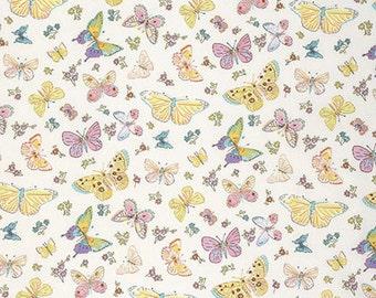 Dena designs Butterfly Garden Butterfly Toss in White freespirit cotton quilting blue butterflies fabric material by the metre yard