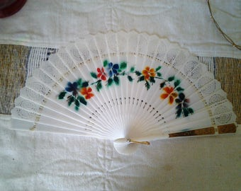 Celluloid  Fan with hand painted flowers