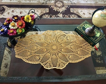 Gold Crochet Doilies - Crochet Doily - Crochet Lace Doily - Fall Decor - Farmhouse Decor - Vintage Decor - Wedding Gifts - Housewarming Gift