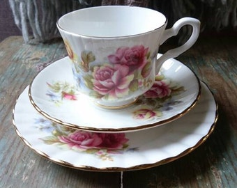 Vintage teacup trio. Royal Stafford teacup and saucer trio. Tea party. Wedding china. Vintage garden party. Gift idea.