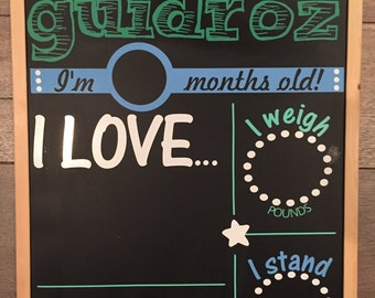 Baby Boy Monthly Milestone Chalkboard Re-Usable shower gift growth chart