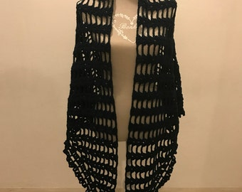 Perforated wool shawl