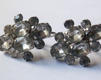 Czechoslovakia Clear Rhinestone Screw on Earrings Czech Earrings Rhinestone Earrings Czech Screw on