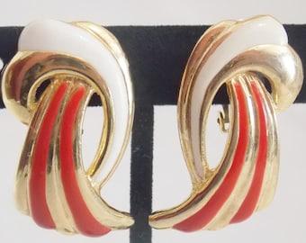 Gold Tone Enamel HW Clip on Earrings, Gold Tone Earrings, Enamel Earrings, HW Earring, Red Enamel, White Enamel, Gold tone HW Earrings
