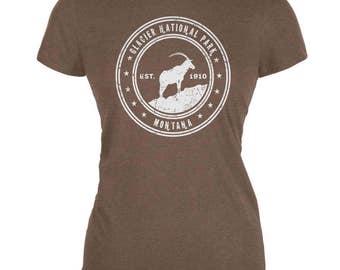 Glacier National Park Heather Brown Juniors Soft T-Shirt
