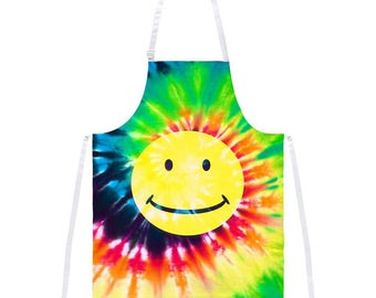 Smiley Face Tie Dye All Over Apron