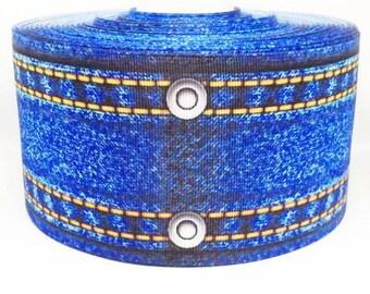75mm 3 inch denim grosgrain ribbon. Crafts-sewing-embellishments-cards-scrapbooking-cabochon-flatbacks-ribbon