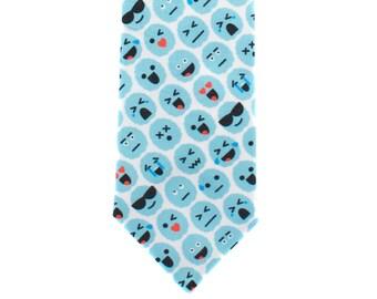 Skinny Tie - Brain Emoji - Blue