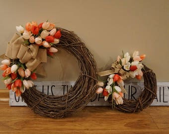 CUSTOM-MADE Spring or Summer wooden floral wreath with bow