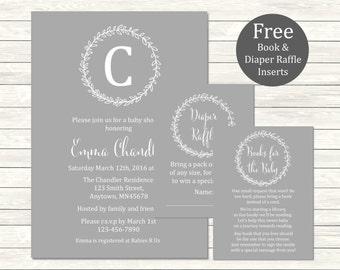 Printable Monogram Gray Baby Shower Invitation, Book Insert & Diaper Insert, Laurel Wreath Baby Shower Invite Package, Grey, Download 029-G