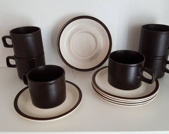 Set of 6 Vintage Tea Cups / Coffee Mugs - Doverstone Heather Cups and Saucers - Staffordshire England - Chocolate Brown
