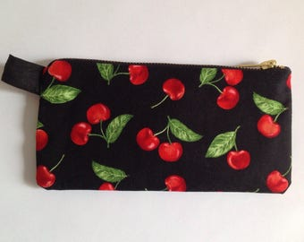 Cherry fabric  iphone pouch, pencil case, makeup pouch. For stationary or cosmetics