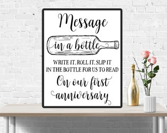 Message in a bottle sign, Wedding sign, Wedding Guest book sign, Bottle Guestbook, Funny wedding decor, Beach wedding, First anniversary