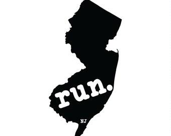 Run NJ State Outline Magnet