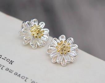 4 pcs sterling silver daisy flower sunflower charm pendant QTT