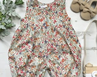 Girls vintage inspired summer floral romper, 0-6 years