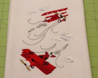 The Red Baron Flies Again (Aviation Buffs)! Embroidered Kitchen Hand Towel, Williams Sonoma All Purpose Kitchen Hand Towel, XL