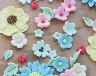 Edible fondant flowers, Fondant flowers for cake, Pre made fondant flowers, Cupcake flowers,