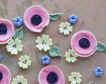 Fondant Flowers, Fondant Blossoms, Cake Flowers, Edible Cake Flowers