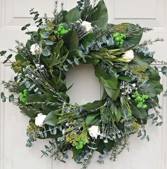 "Preserved lemon leaf wreath, 24"" wreath, leaf wreath, cream roses wreath, natural wreath, decorative wreath"