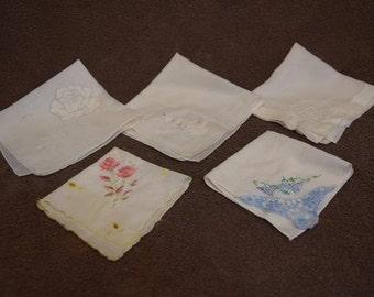 Five Vintage Ladies Embroderied Handkerchiefs