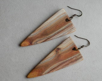 Wooden Earrings/Jewelry. Wood Earrings Hand Crafted from Exotic Smoke Bush Wood. Reclaimed, Salvaged Wood. One Of A Kind.