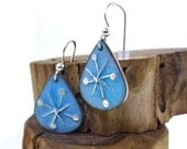 Mid Century Modern Inspired Vintage Style Abstract Silver Snowflake Glass Enamel Copper Teardrop Ice Blue Holiday Earrings