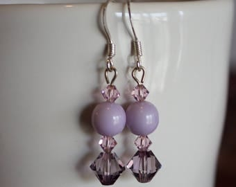 Purple Lavender Glass and Swarovski Bead Earrings
