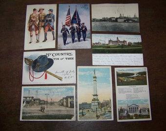 Vintage Military Postcards Soliders Naval Academy Antique 1906 lot of 8, American Flag, 1906 & up