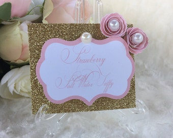 4 pink and gold candy buffet tags, pink and gold dessert labels, candy buffet labels, candy tags, pink and gold food labels