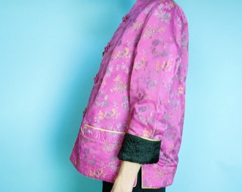 Vintage 60s reversible jacket pink black small