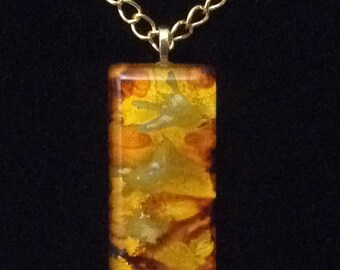 Hand inked glass pendant necklace Gold