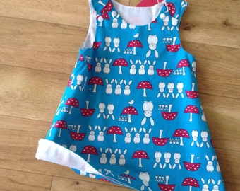 Turquoise Bunny and Toadstool dress, Spring dress, Easter Dress, Bunny dress, Toadstool dress