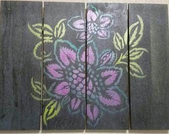 Tropical Flower Wooden Wall Decor