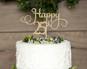 Cake topper - 25th birthday party,25th birthday cake topper, twentyfifth birthday decorations, 25th birthday decorations,25 cake topper
