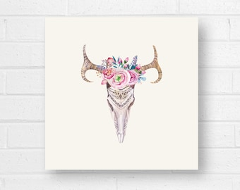 Animal Skull Floral Canvas Art Print, Cream