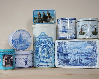 8 Dutch Tins vintage and new / Dutch blue