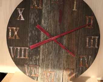 "Rustic Barnwood Wall Clock 24"""
