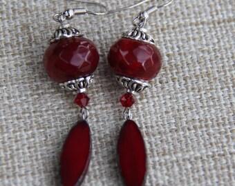 Red Agate Czech Glass Swarovski earrings