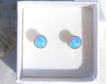 OPAL Stud Earrings, Blue Opal, Gemstone Earrings, Dainty Opal Earrings, Stud Earring, Gold Filled Studs, Classic Opal Stud Earrings, Gift.