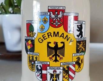 Vintage Germany Ceramic Stoneware Beer Tankard/Stein/Mug