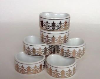 Napkin rings, vintage napkin rings, ceramic napkin rings, gold and white napkin rings, eight napkin rings, white napkin rings,