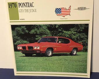 CLASSIC CAR PRINT vintage picture photo card 6x6 usa made us automobilia auto collectible 1970 pontiac gto judge red sports