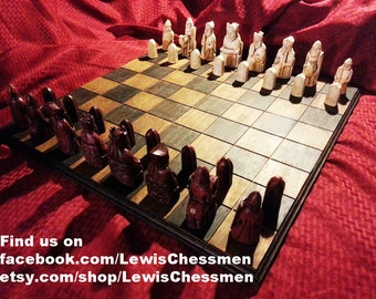 """Isle of Lewis Chess Set (Full Size Hand Made Replicas - 4"""" King) Sale Was 199.00"""