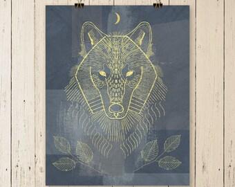 Wolf Art, wolf painting, wolf artwork, wolf poster, wolf print, wolf art print, wall art decor, animal art, wildlife art, original art, gift