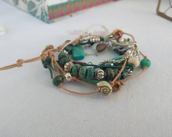 Leather cord bracelet set: turquoise
