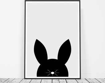 Nursery Rabbit Print, Kids Room Bunny Print, Bunny Rabbit Art, Minimalist Art Nursery, Black and White Kids Art Printable Nursery Art Print